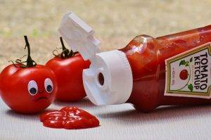 Spilled ketchup bottle