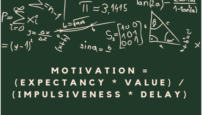 Chalkboard with motivation equation