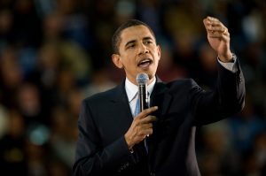 President Obama gives speech to crowd