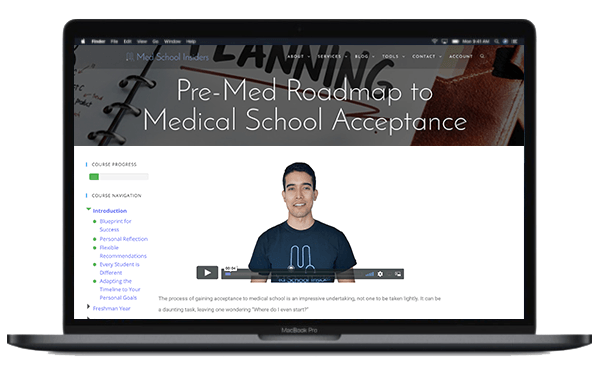 Computer with Premed Roadmap On Screen