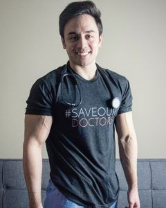 Ethan Jose in #SaveOurDoctors T-shirt