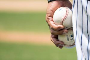 closeup of baseball pitcher