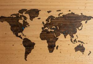 brown and black 2-D map of globe