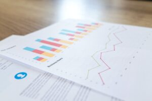 2 pieces of paper with charts/graphs